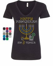 Happy Hanukkah Women's V-Neck T-Shirt Menorah Drinking Gin & Tonica Dreidel - $10.76+