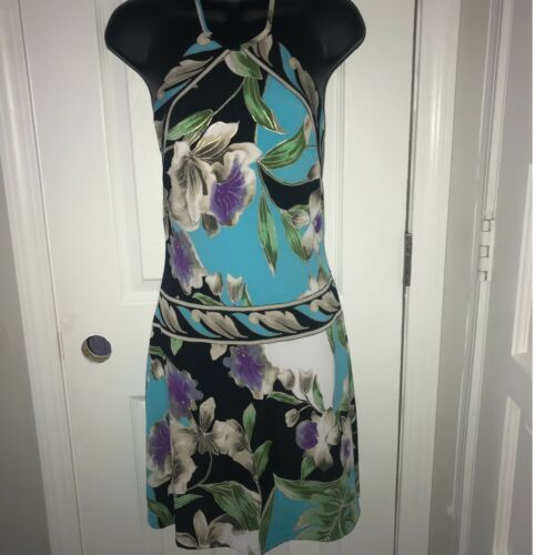 Primary image for Women's Cache Floral Halter Stretchy Dress EUC Small E