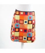 Light brown orange geometric cotton blend DAVID MEISTER wrap skirt 2 - $24.99