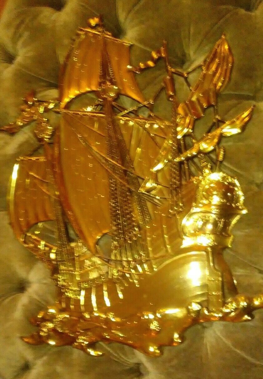 Primary image for Vintage MCM Large Gold Ship Wall Hanging 1958 Made In USA Dart Industries # 3663