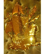 Vintage MCM Large Gold Ship Wall Hanging 1958 Made In USA Dart Industrie... - $35.64