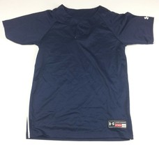 New Under Armour Classic Two Button Baseball Jersey Youth Large Navy UBJ... - $12.86