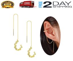 Aretes 18K Gold Flower Stud Pendientes Joyeria Fina Prendas de Moda De O... - $23.99