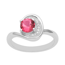 Red Color Cubic Zirconia Women Fancy Bypass 925 Sterling Silver Engageme... - $14.54