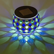 Solar Mosaic Glass LED Decorative Table Light Blue and Green - $14.77