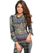 Juniors mock neckline long sleeve printed knit top - $7.00