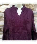 Greater Good Top Shirt Blouse Plus Women's 3XL Boho Purple Crinkle Beade... - $29.99
