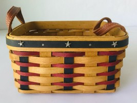 "Longaberger 7"" Square Basket Leather Handles Red & Blue Stripes with Sta... - $33.85"