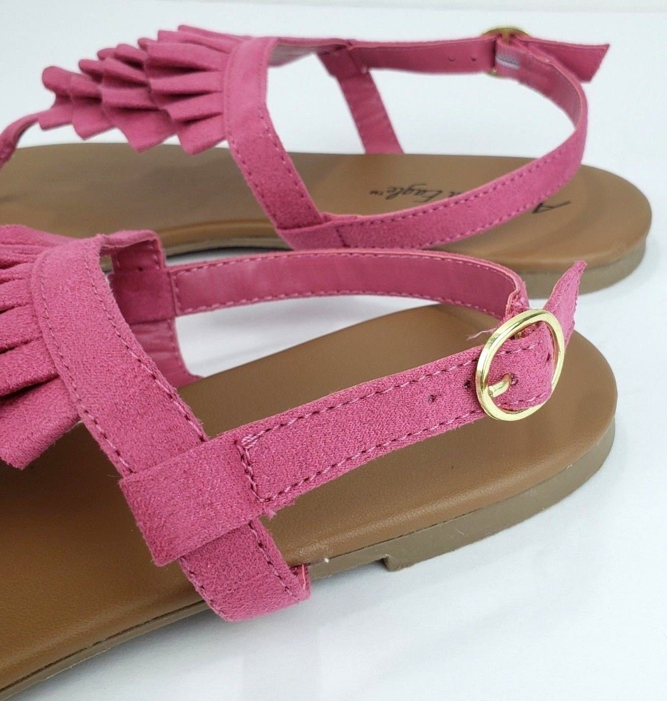 American Eagle Womens Size 10 Pink Pleated Layer Ankle Wrap Flat Sandals NWT