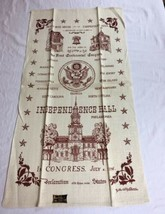 VTG  NOS Kay Dee Linen Tea Towel Independence Hall Congress AMERICANA - $9.95