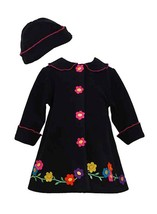 Bonnie Jean Little Girls 2T-4T Black/Pink Daisy Flower Border Fleece Coat/Hat Se