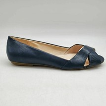 Lands End Womens Ballet Flat Shoes Blue Snakeskin Peep Toe Slip Ons 11 B - $22.76