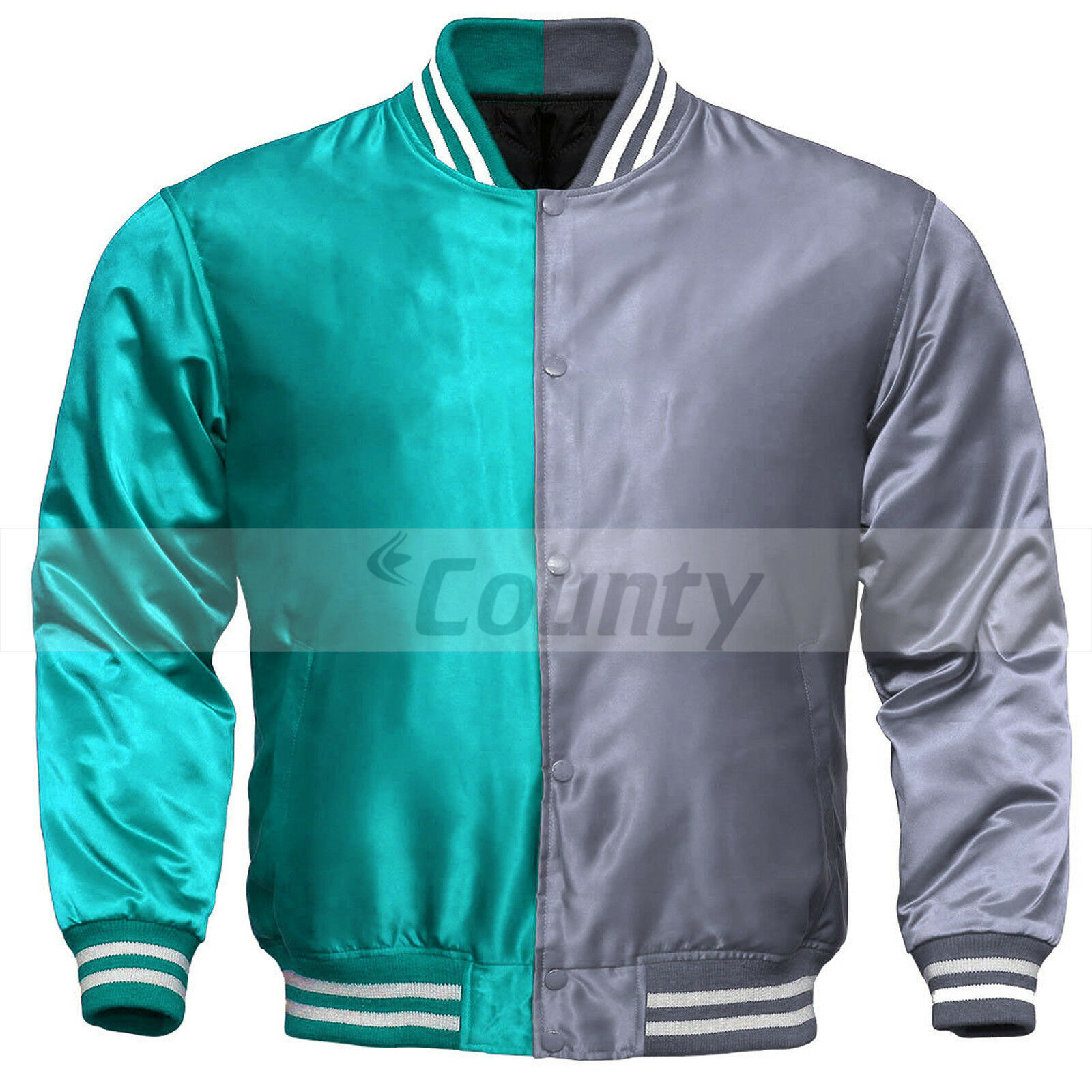 Primary image for Letterman Baseball College Varsity Bomber Sports Jacket Turquoise Silver Satin