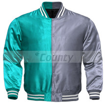Letterman Baseball College Varsity Bomber Sports Jacket Turquoise Silver Satin - $49.98+