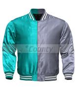 Letterman Baseball College Varsity Bomber Sports Jacket Turquoise Silver... - $49.98+