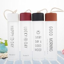360ml BPA-Free Frosted Glass Water Bottle with Leakproof Cap Transparent... - $16.52