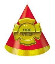 Firefighter Fire Man Party Hats (8) - Birthday Party Supplies - $4.83
