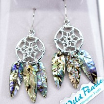 A.T. Storrs Wild Pearle Abalone Shell Filigree Dreamcatcher Dangle Hook Earrings image 2