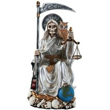 Santa Muerte Saint of Holy Death Seated Religious Statue 9 Inch Purification (Wh - $36.51