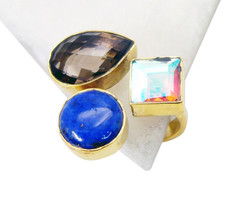 charming Multi Smoky quartz Gold Plated Multi Ring Natural india US gift - $11.08