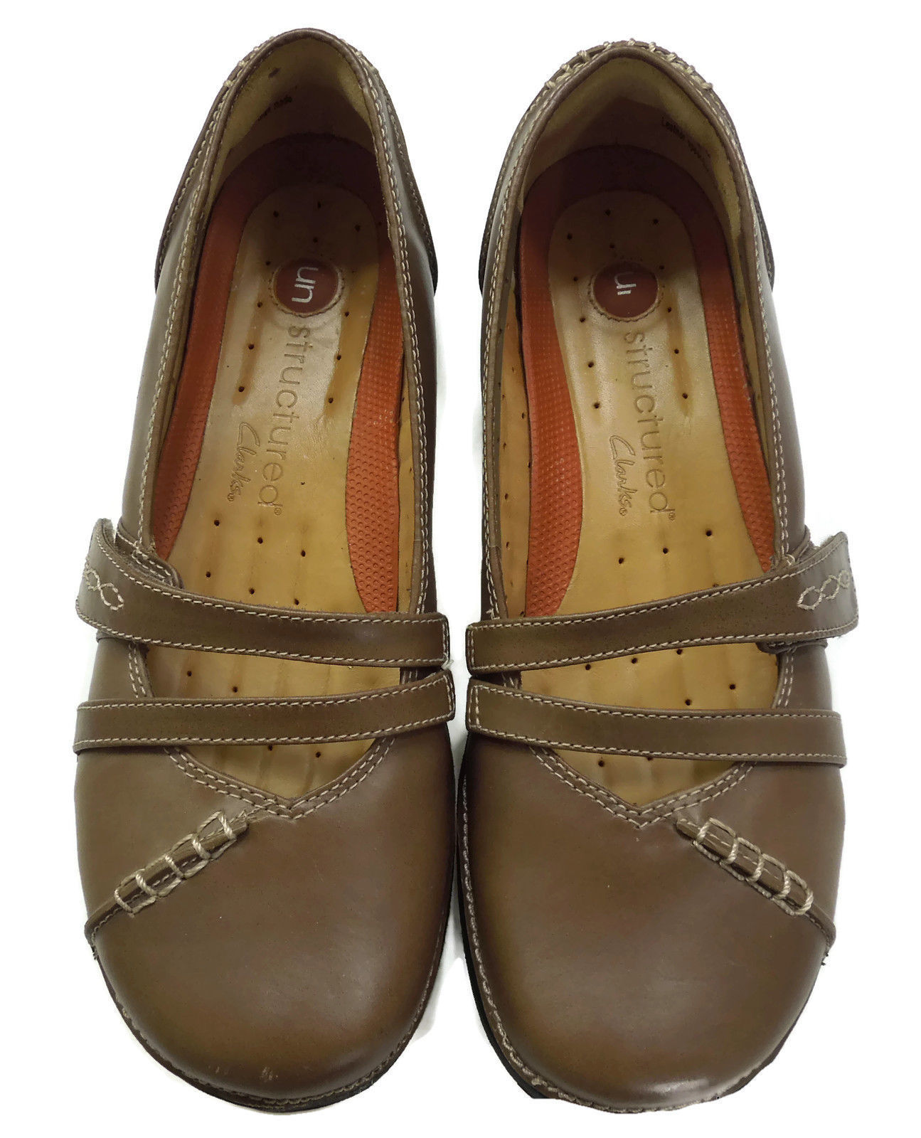 CLARKS Women's Unstructured Camel Tan Leather Mary Jane Loafer Shoes Sz 6M $120