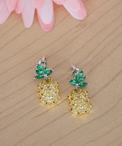 Yellow Pineapple Earrings, Pineapple Studs, Pineapple Jewelry, Stocking Stuffer - $19.60