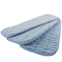 18 in. Blue Microfiber Wet Mop Scrubbing Pad (3-Pack) Zone Cleaning Floor - $25.93