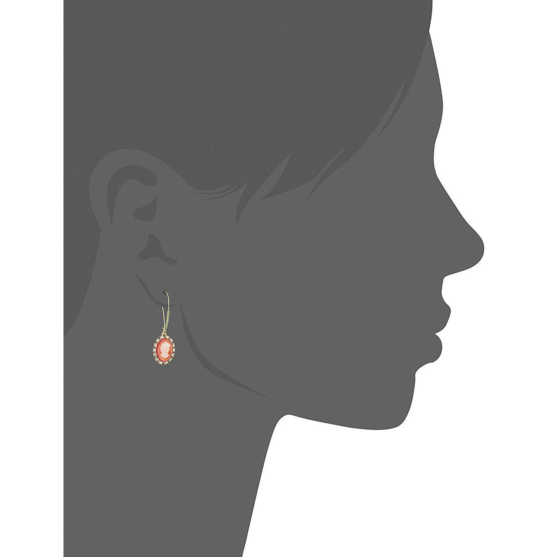 Betsey Johnson Gold Orange Resin Camo Crystal Dangle Drop Earrings NWT