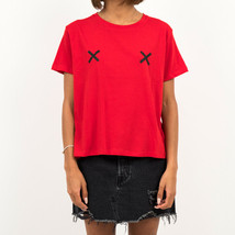 T-SHIRT VROUW NA-KD DOUBLE X TEE 1100 000305 0919  Rosso - $18.11