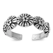 Daisy Adjustable Toe Ring For Women's 14k White Gold Plated 925 Sterling... - $9.99