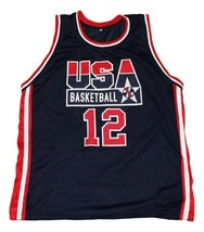 Dominique Wilkins #12 Team USA Basketball Jersey New Sewn Navy Blue Any Size image 4