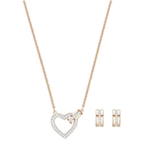Swarovski Set Lovely White Coated Of Gold Pink Symbol of The Link Between Two - $297.06