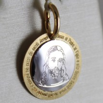 18K WHITE YELLOW GOLD MEDAL JESUS CHRIST WITH THE GLORY PRAYER MADE IN ITALY image 2