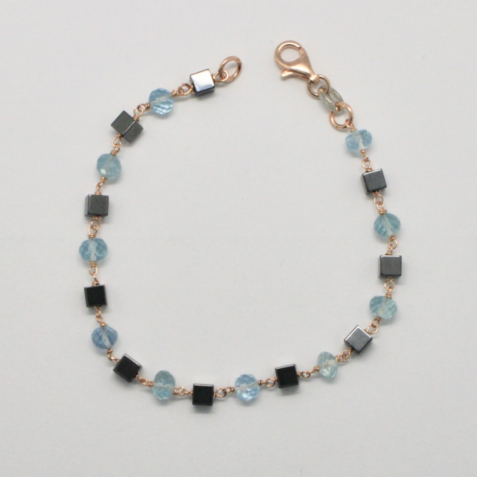 SILVER 925 BRACELET WITH AQUAMARINE FACETED HEMATITE MADE IN ITALY