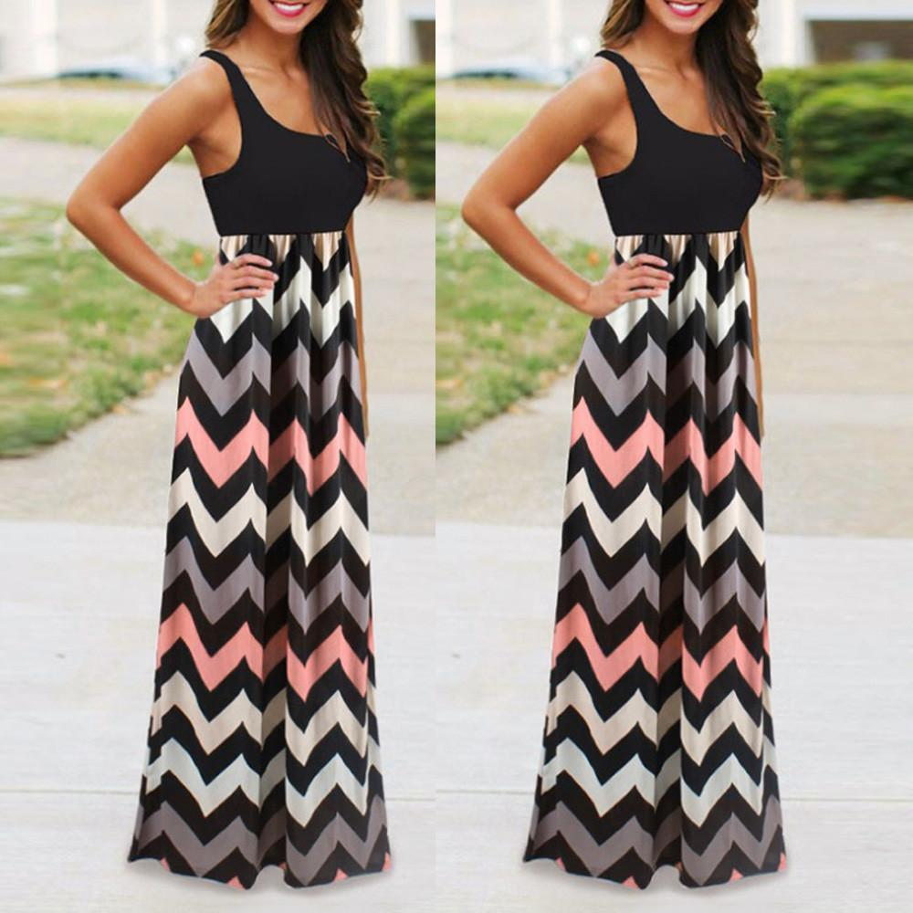Womens Striped Long Boho Dress Lady Beach Summer Sundrss Maxi Dress Plus Size