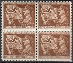 1944 Hitler and Flag Block of 4 Germany Postage Stamps Catalog Number B252 MNH