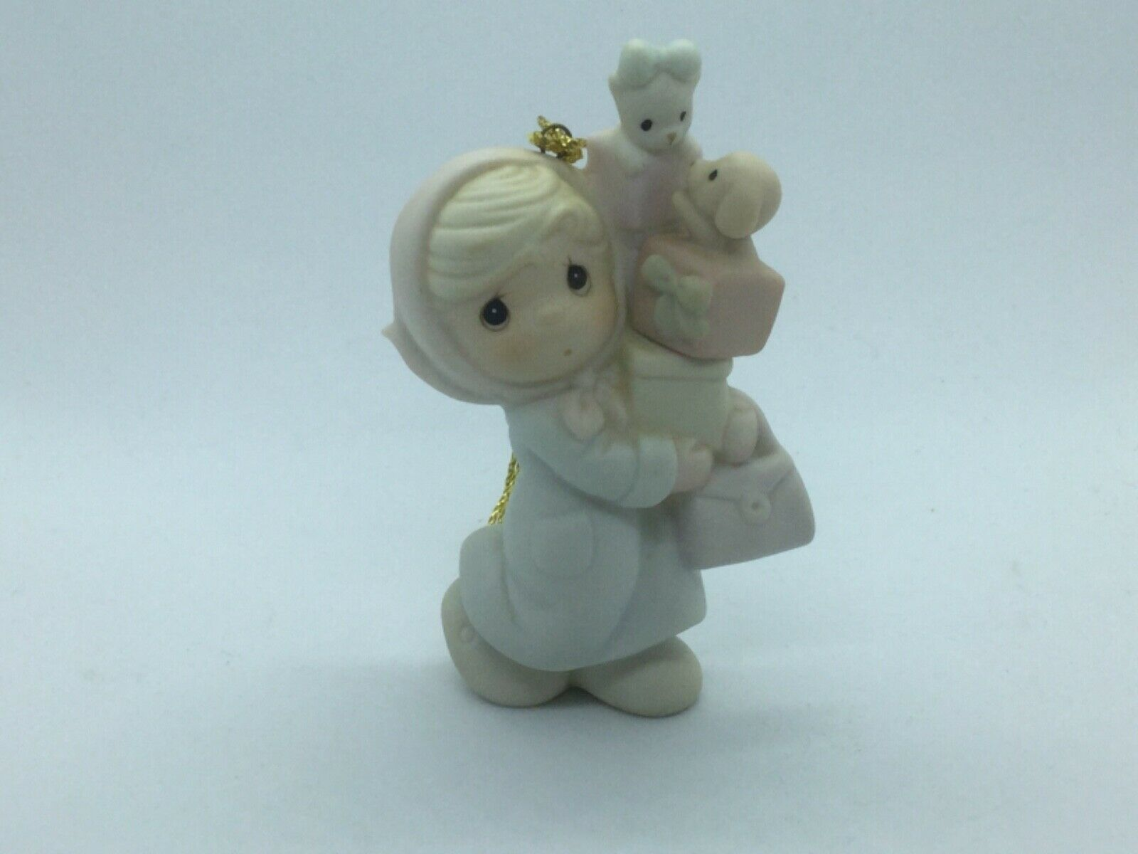 "Primary image for #525057 PRECIOUS MOMENTS 1990 CHRISTMAS ORNAMENT, 1ST YEAR ISSUE ""BUNDLES OF JOY"