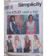 Simplicity 9428 Misses' 2 Hour Vest or Top, Size H (6, 8, 10) - $9.80