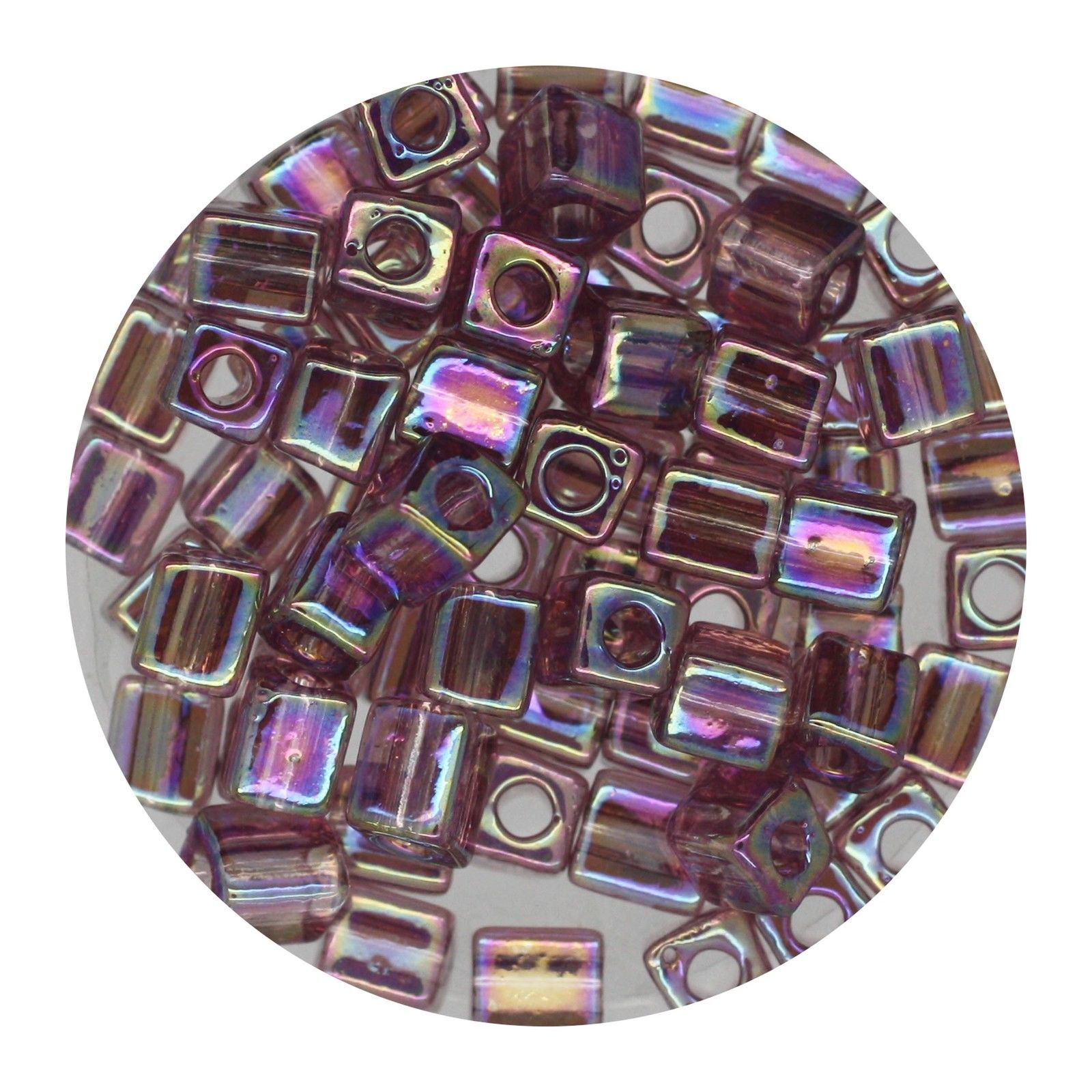 Square Glass Beads Japan 4mm Miyuki Cube Transparent Light Amethyst Ab - $6.94