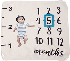Monthly Milestone Baby Blanket with Blue Frame: Premium Quality and Density - $16.82