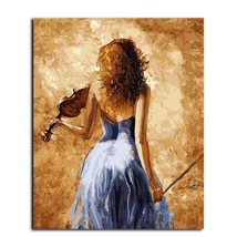 Paint By Number Kit Violin Woman Musician DIY Picture Artwork 40x50 50x6... - $13.36+