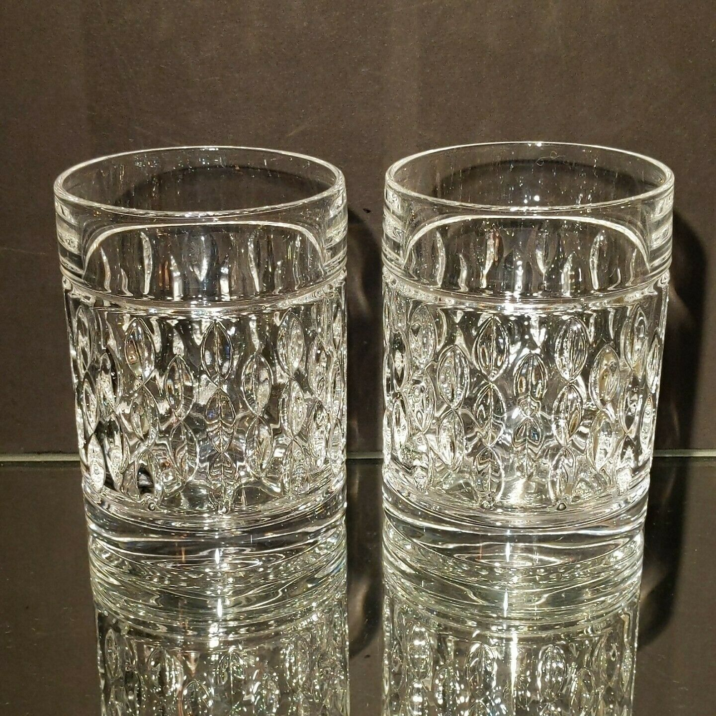 2 (Two) RALPH LAUREN ASTON Cut Lead Crystal DBL Old Fashioned Glasses-Signed
