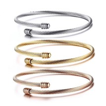 3pcs Set Trendy Bracelets for Women Stainless Steel Gold-Color Crossover... - $25.99