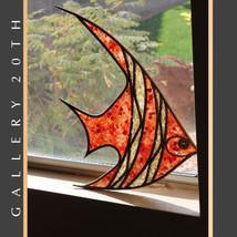 MID CENTURY MODERN TRANSLUCENT FISH WALL ART! Atomic Orange Wood 50s Scu... - €556,07 EUR