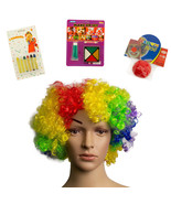 4pc All in One Clown Costume Kit Wig Nose Makeup Kit Halloween Stage Makeup - $8.59