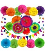 Mexican Party Supplies Cinco de Mayo Decorations Fiesta Pom Pom Rainbow ... - $33.85