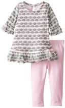 Bonnie Jean Little Girl 2T-6X Pink/grey Perforated Knit Dress/legging Set