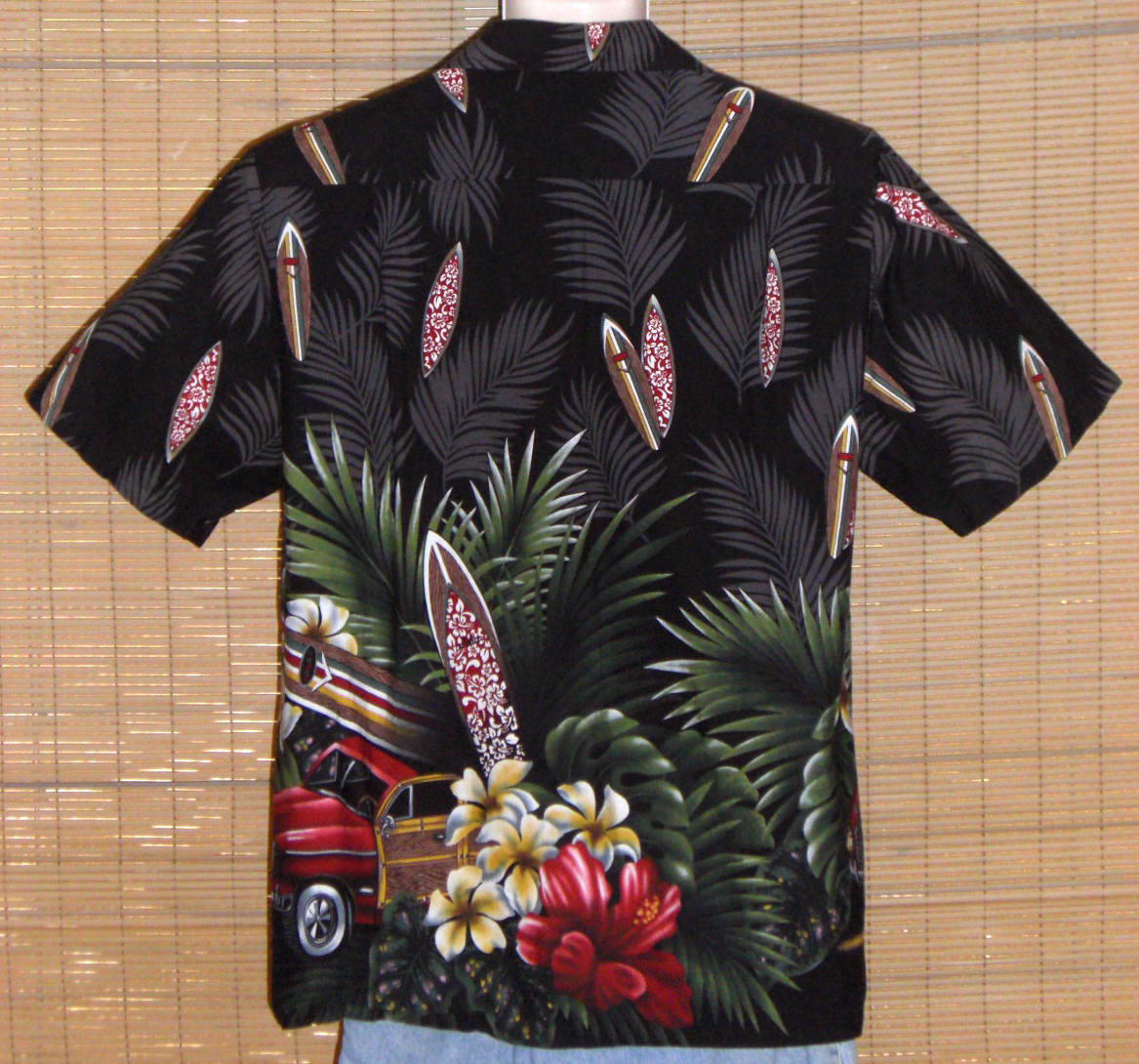 RJC Hawaiian Shirt Black Surfboards Large