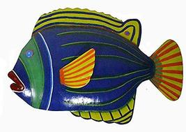 WorldBazzar Blue with Green Stripe Beautiful Unique Fish Metal Hanging Wall Art  - $24.69