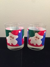 Vintage 70s Graphic Santa Christmas cocktail lowball glassware